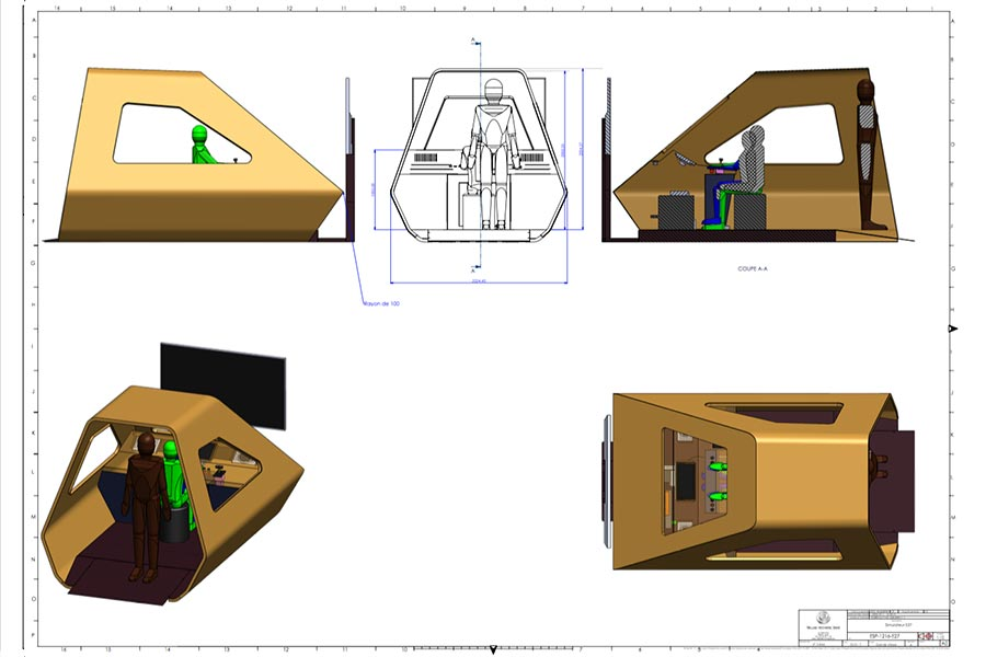 Plans 3D - Cabine d'un simulateur de train