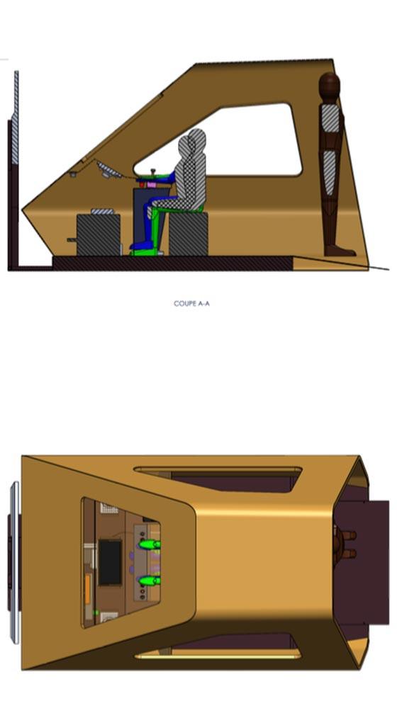 Plan de coupe - Cabine simulateur train